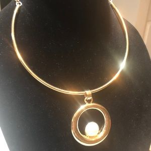 RJ Graziano goldtone pearl necklace